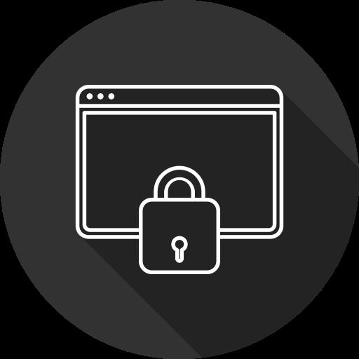 key, laptop, lock, security, tablet icon