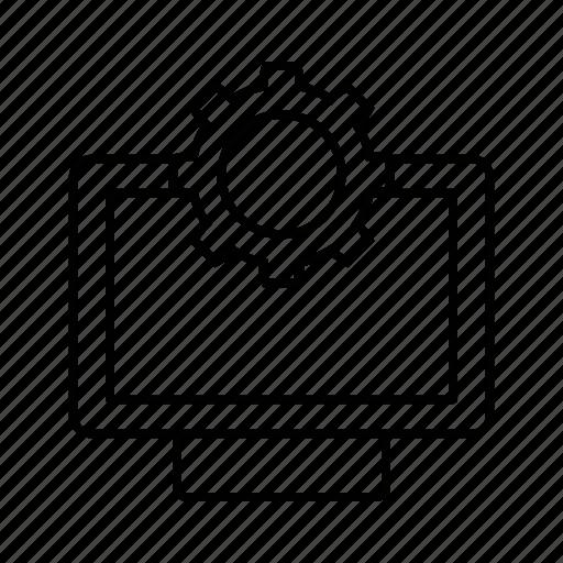 digital, gear, monitor, setting icon