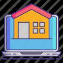 accomodation, computer, house icon