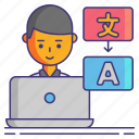 computer, freelance, language, translator icon