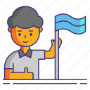 flag, independent, man, user icon