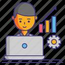 computer, gear, graph, productivity icon