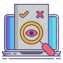 computer, eye, magnifier, proofreading icon