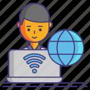 online, remote, work icon