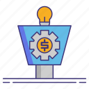 funnel, gear, sales, strategist icon