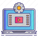 computer, editor, gear, video icon