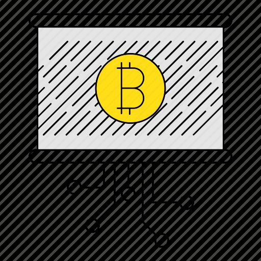 bitcoin, circuit, digital services, graph, marketing, report, seo icon