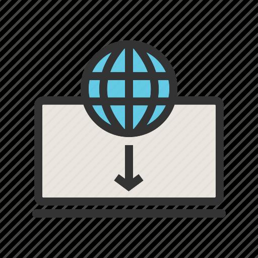 business, commerce, digital, laptop, technology, web, world icon