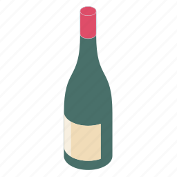 bottle, red, wine icon