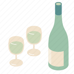 bottle, white, wine icon