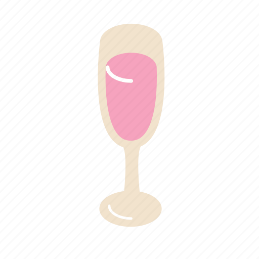 champagne, glass, pink icon