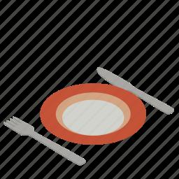dining, dinner, dinner setting, food, plate, plate setting, restaurant icon