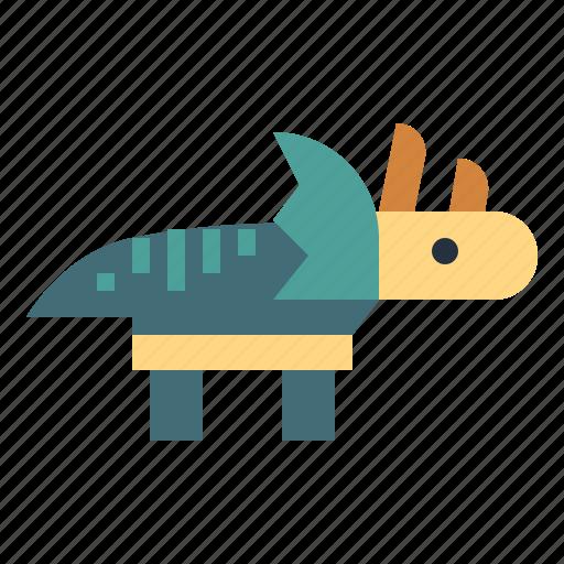 animals, extinct, herbivore, triceratops icon