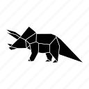 dinosaurs, jurassic, origami, triceratops icon