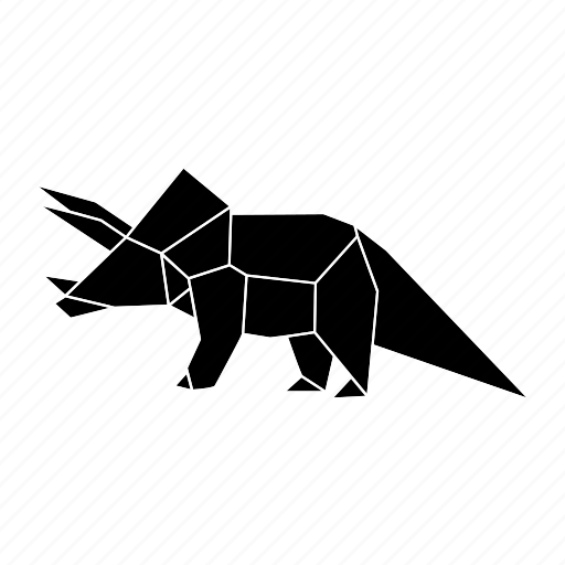 dinosaurs, jurassic, origami, triceratops icon