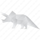 creative, dinosaurs, jurassic, origami, triceratops icon
