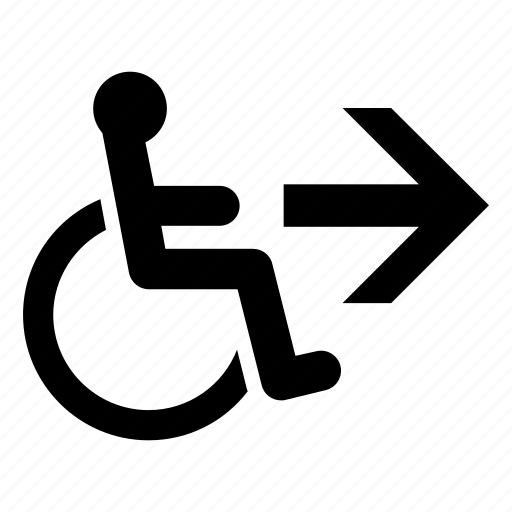 accessible way, directional sign, disability, disabled, handicapped, right arrow, wheelchair icon