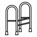 cane, elderly, line, medical, outline, senior, walker icon