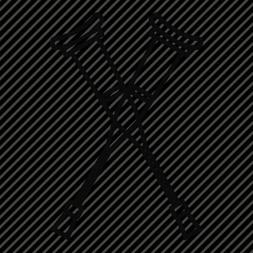 crutches, health, leg, line, medical, medicine, outline icon