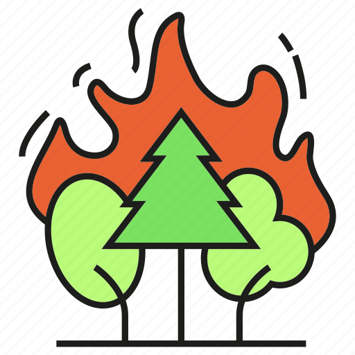 disaster, fire, forest, forest fire, tree, wildfire icon