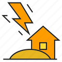 bolt, disaster, house, lightning, strike, thunderbolt icon