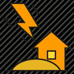 bolt, disaster, house, lightning, strike, thunderbolt icon