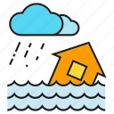 deluge, disaster, flood, inundation, rain, storm, thunderstorm icon