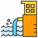 contamination, disaster, factory, industry, pollution, water icon