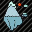 crash, disaster, glacier, iceberg, ocean, sea, struck icon