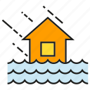 debacle, deluge, flood, house, inundation, rain, thunderstorm icon
