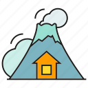 active volcano, catastrophe, disaster, hill, lava, volcano icon