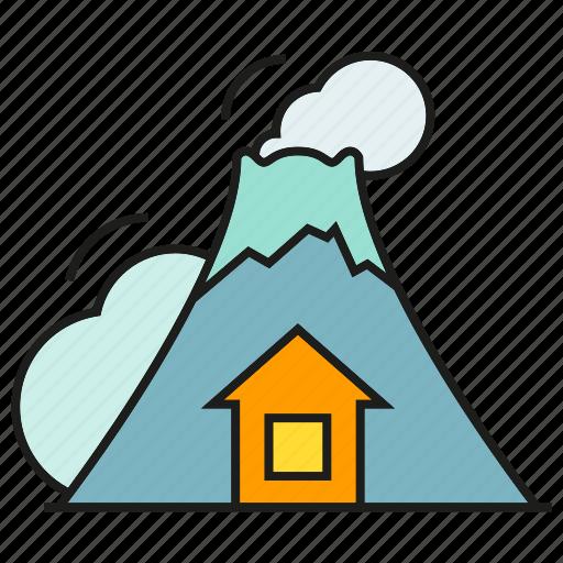 active volcano, catastrophe, disaster, hill, lava, volcano icon