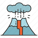 active volcano, catastrophe, disaster, hill, lava, magma, volcano icon