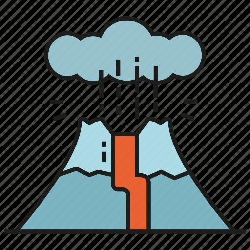 active volcano, catastrophe, disaster, hill, lava, magma, volcano icon