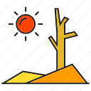 arid, desert, drought, dry, hot, rainless, sun icon
