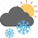 snowfall, snowfall sunrise, weather, winter scene, winter weather icon