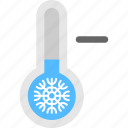 cold weather, temperature decrease, temperature low, thermometer with decreasing indicator, weather forecast icon
