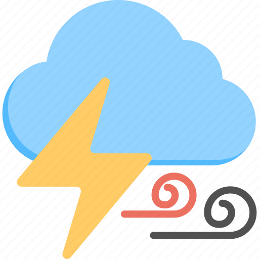 bad weather, lightning clouds, severe weather, stormy weather, thunderstorm icon