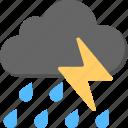 cold weather, heavy rain, rain storm, rain with lightning, weather forecast icon