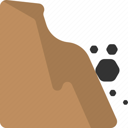 collapse of rock, falling rock, natural disaster, rock sliding, rockfall icon