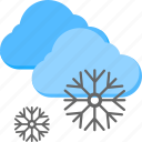 snow in cloudy weather, snowfall, snowflakes, weather, winter icon