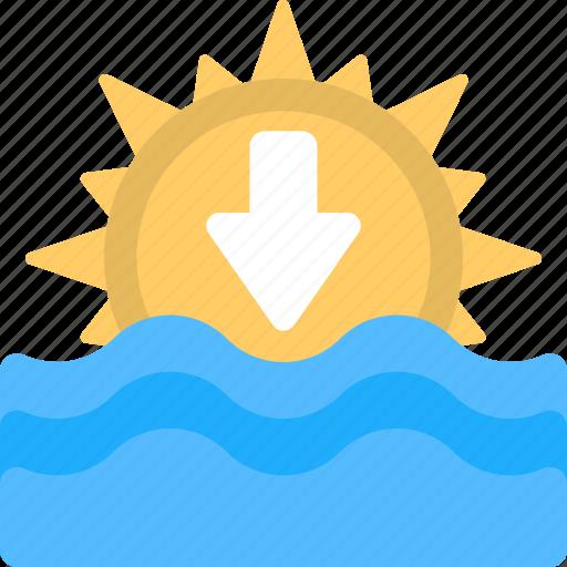 beach scene, beach sunset, ocean sunset, sundawn, sunset icon