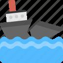ocean waves storm, ship breaking, ship demolition, vessels breaking, weather hazards icon