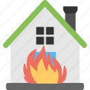 building on fire, house fire, house on fire, residential fire, structure fire icon