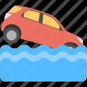 car falling in water, danger signal, road end sign, traffic sign, transportation disaster