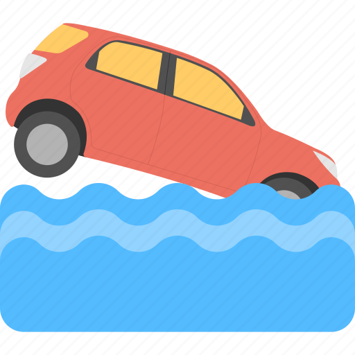 car falling in water, danger signal, road end sign, traffic sign, transportation disaster icon