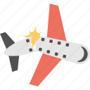 aircraft accident, airplane crash, plane accident, plane crash, plane disaster icon