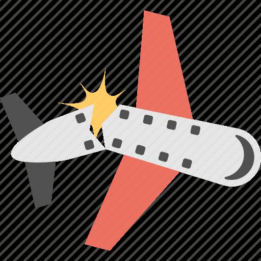 aircraft accident, airplane crash, plane accident, plane crash, plane disaster icon