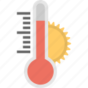 beware high temperature, high temperature, hot weather, thermometer with sun, weather forecast icon