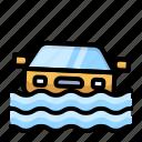 car, disaster, drowning, emergency, flood, rain